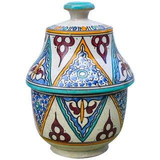 Moorish Ceramic Box W/ Ornate Pattern For Sale