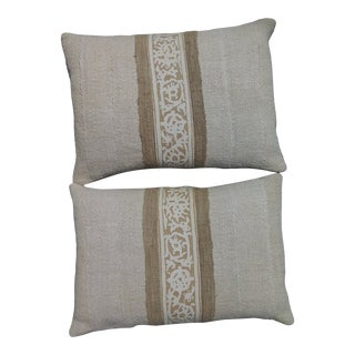 Fortuny Border Neutral Custom Pillows - a Pair For Sale