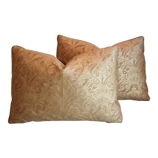 "Italian Mariano Fortuny Campanelle Feather/Down Pillows 22"" X 16"" - Pair For Sale"