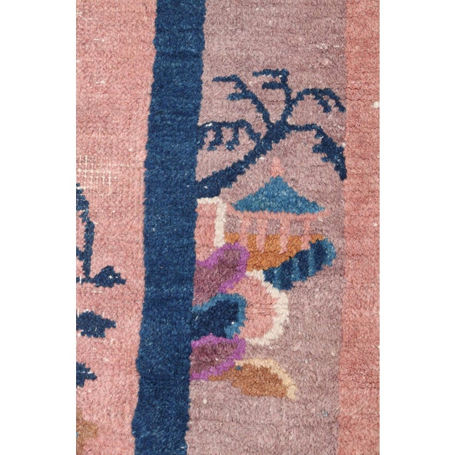 Mid 20th Century Chinese Hand Knotted Floral Rug For Sale In Minneapolis - Image 6 of 8