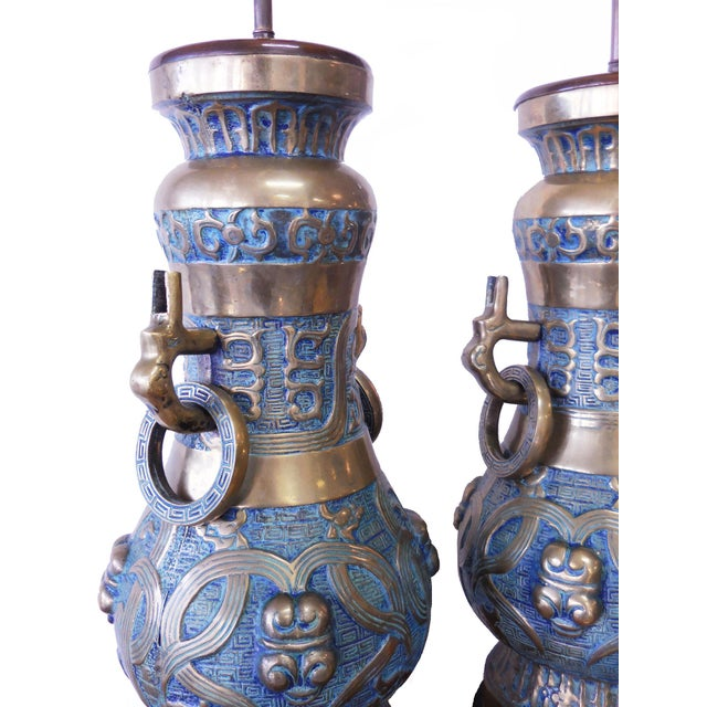 Pepe Mendoza, Monumental Pair of Brass and Enamel Lamps - Image 4 of 9