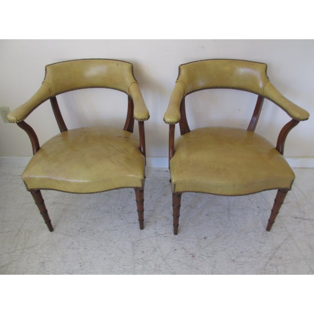 Vintage Butterscotch Leather Armchairs - A Pair - Image 3 of 11