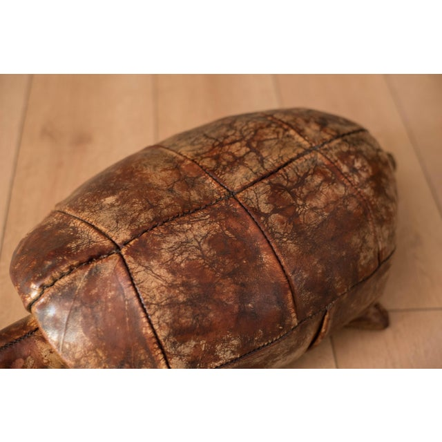 1960s Vintage Abercrombie and Fitch Leather Turtle Footstool by Dimitri Omersa For Sale - Image 5 of 8