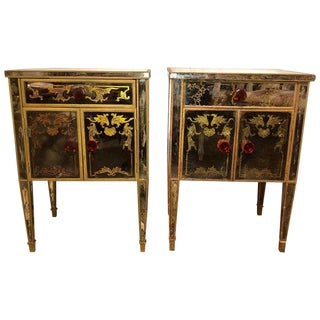 Pair of Verre Églomisé Compatible End Tables or Nightstands With Bakelite Pulls For Sale