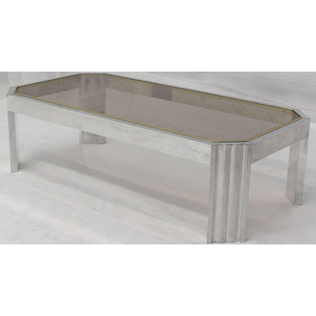 Mid-Century Modern Aluminum Brass Glass Rectangular Coffee Table For Sale - Image 3 of 7
