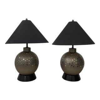 Pair of Vintage Ceramic Metallic Silver Glaze Ball Lamps by Marbro C.1970 For Sale