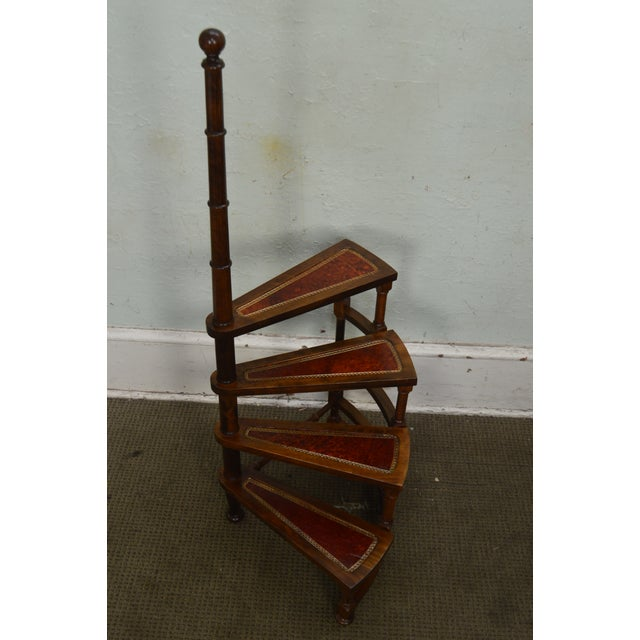 English Regency Style Carved Mahogany Tooled Leather Spiral Library Steps For Sale - Image 10 of 13