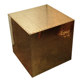 Polished Brass Cube Box Occasional Table by Sarreid For Sale