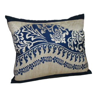 Indigo Floral Vines Japanese Silk Obi Pillow Cover For Sale