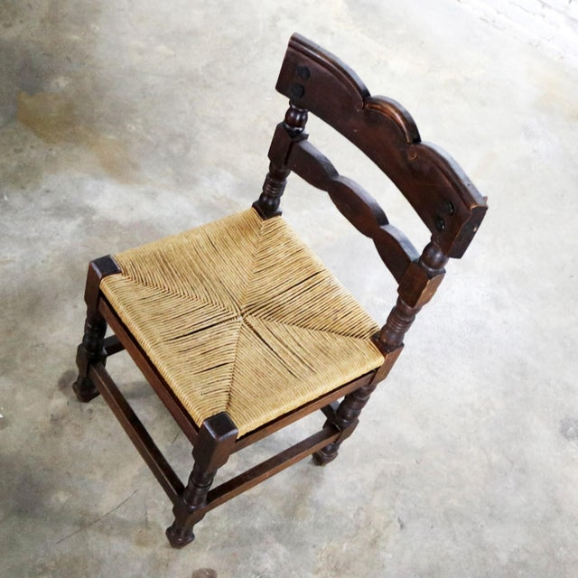 Spanish Colonial Style Dining Chairs With Rush Seats Stamped Hecho en Mexico For Sale - Image 9 of 13