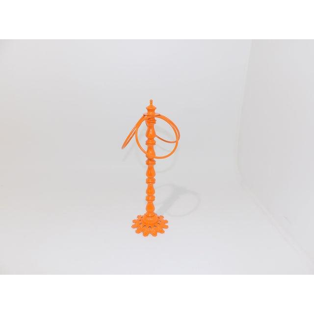 Mid-Century Modern Vintage Orange Metal Hand Towel Holder For Sale - Image 3 of 7