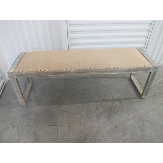 Early 21st Century Mid-Century Modern Style Linen Upholstered Bench For Sale - Image 5 of 5