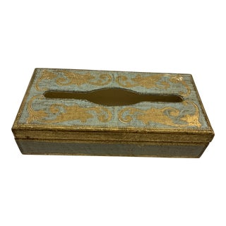 Vintage Mid-Century Italian Blue and Gold Tissue Holder Box For Sale