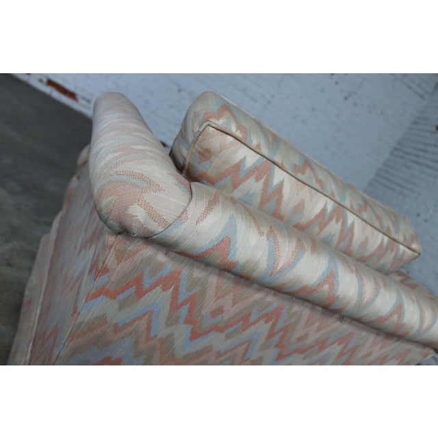Tuxedo Style Skirted Lounge Chair with Rolled Arms and Flame Stitch Upholstery For Sale - Image 9 of 11