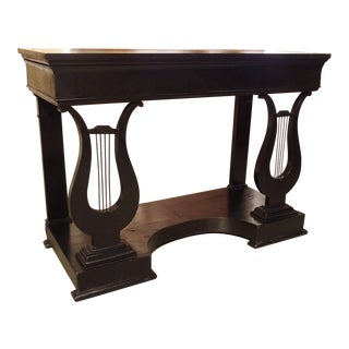 Antique French Neoclassical Lyre Base Console Table For Sale