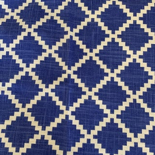 "Blue and White Lulu Dk ""Gaston"" Geometric Fabric- 1 1/2 Yards For Sale"