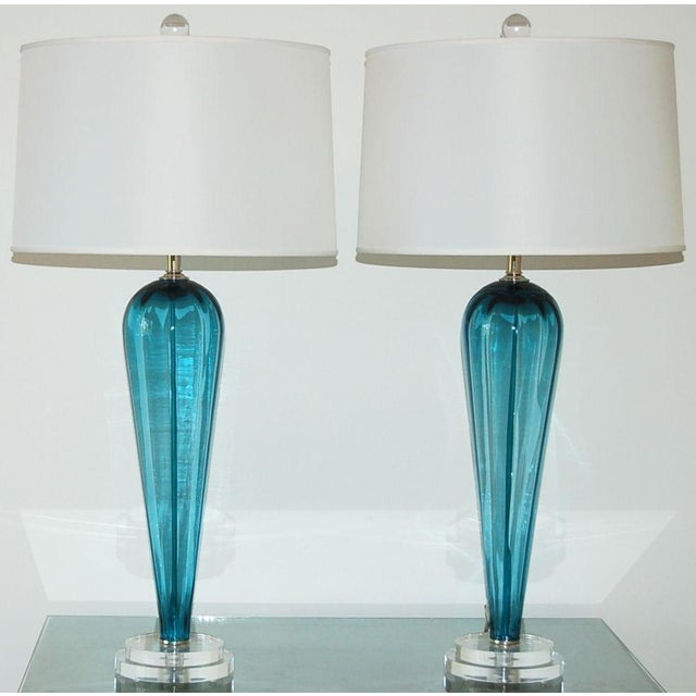 Murano Vintage Italian Glass Teardrop Table Lamps Teal Blue For Sale - Image 4 of 8