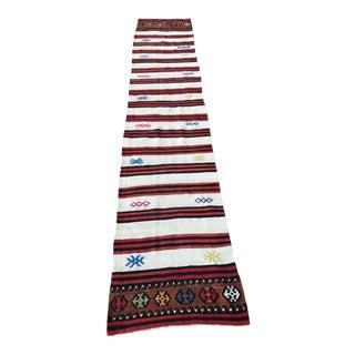 "Vintage Anatolian Hand Woven Runner-2' X 12'2""-Black White Colorful Striped Kilim Rug-Long Kilimrug-Authentic-Boho Runner-Bohemian For Sale"