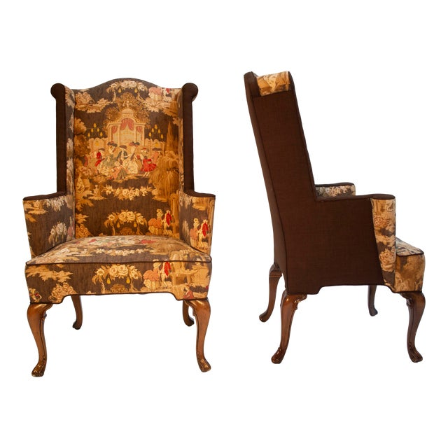 Colonial Wingback Chairs - a Pair For Sale