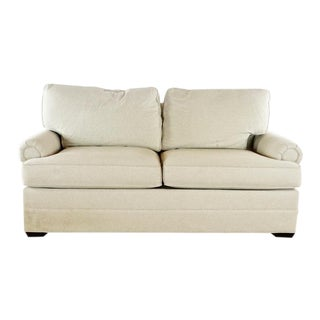 Contemporary Thomasville Two Cushion White Upholstered Sofa For Sale