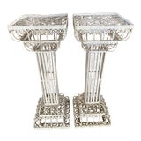 Image of Antique Victorian Wrought Iron Shabby Chic Plant Stands - a Pair For Sale