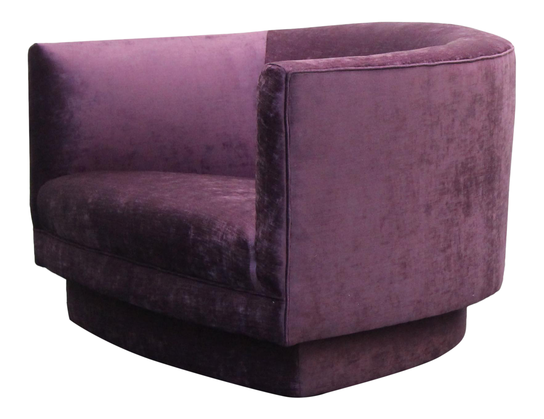 Large Purple Velvet Swivel Mid Century Swivel Chair By Milo Baughman