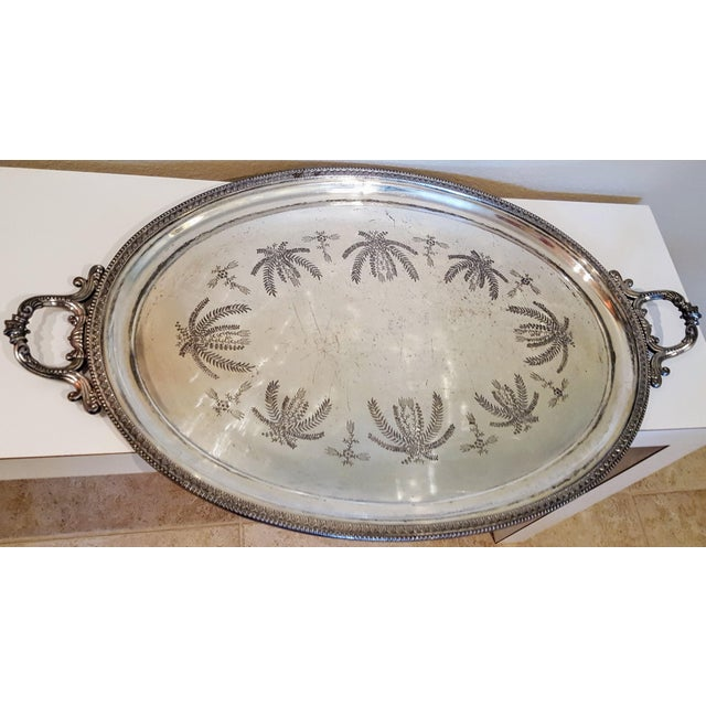 1867 Silver Plated Serving Tray With Engraving - Image 2 of 8