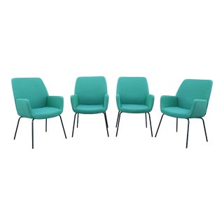Modern Coalesse and Steelcase Brian Kane Bindu Green Guest Chairs - Set of 4 For Sale