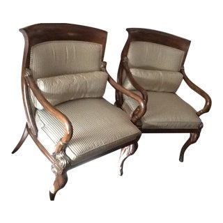 Set of 2 Italian Directoire Arm Chairs; Sorrento With Gold Accents For Sale