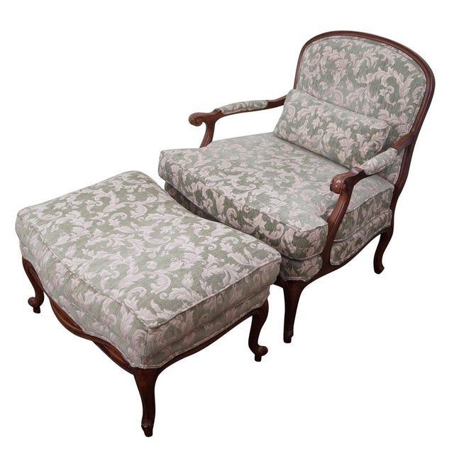 Ethan Allen Louis XV Chaise Lounge & Ottoman For Sale