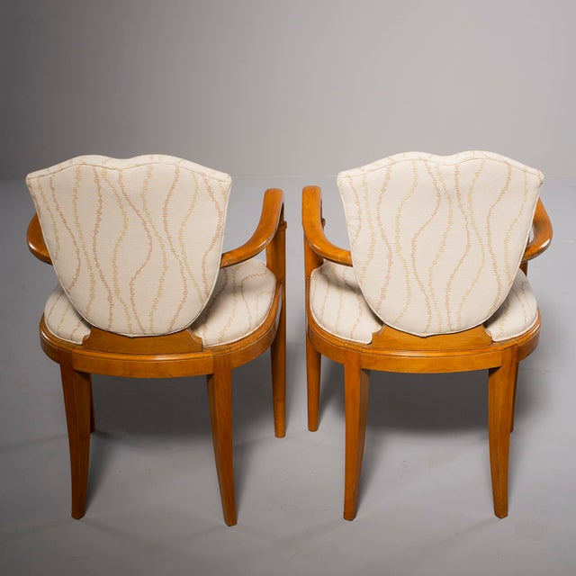 Pair French Bridge Chairs With Beech Frames and New Upholstery For Sale - Image 4 of 10