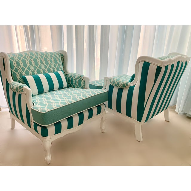 Hollywood Regency Cabana Striped Chairs - a Pair For Sale - Image 10 of 13