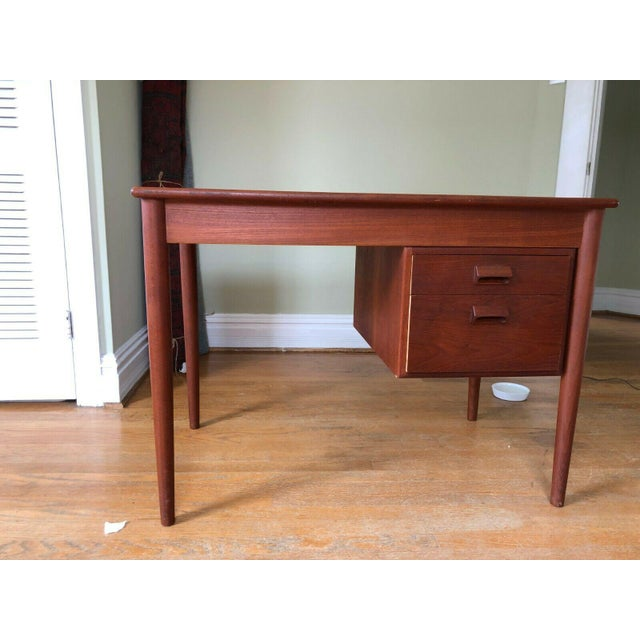 Brown Soborg Mid Century Danish Modern Børge Mogensen Teak Desk For Sale - Image 8 of 8