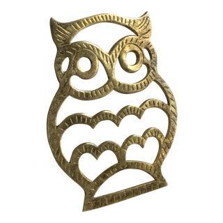 Vintage Brass Owl Trivet
