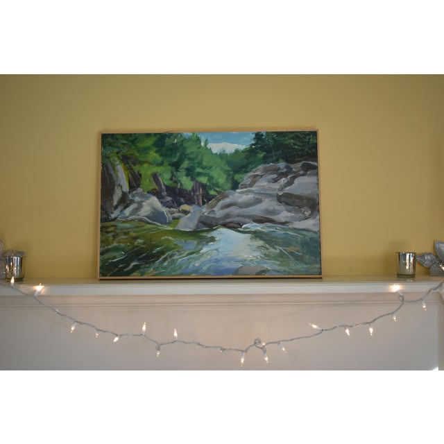 """Titled """"Above Warren Falls"""". This was painted en plein air in the middle of the Mad River in Warren, Vermont. This is a..."""