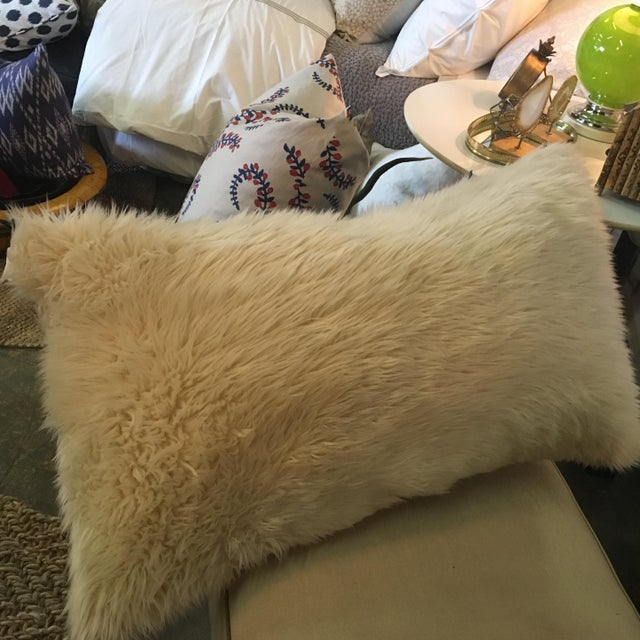 Boho Style Indigo & Fur Pillow - Image 4 of 4