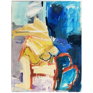 Vintage Mid Century Modern Abstract Expressionist Oil Painting on Canvas C. 1970s For Sale