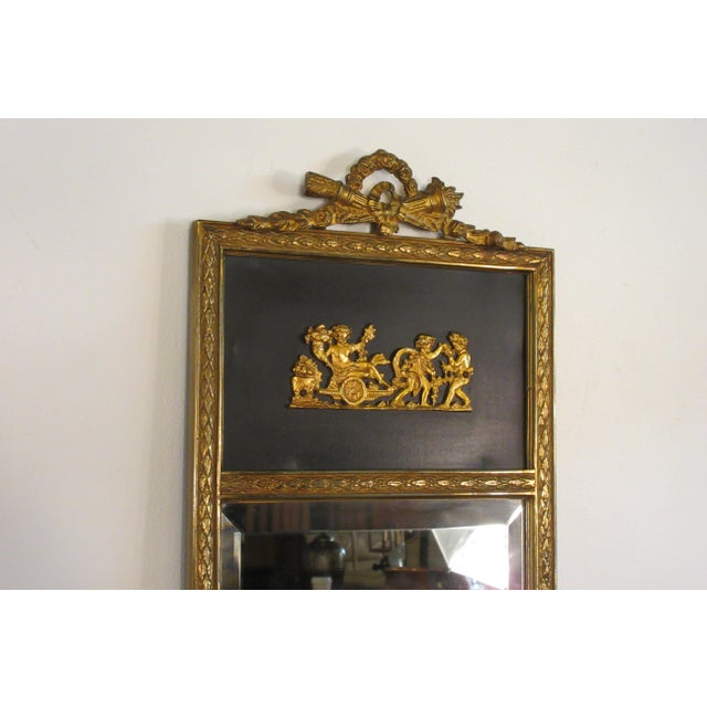 French 1950s French Brass Classical Small Trumeau Mirror For Sale - Image 3 of 11