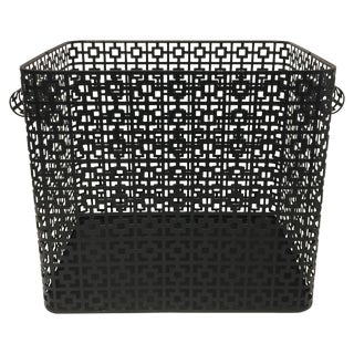 Striking Galvanized Steel Wastepaper Basket For Sale