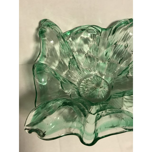 Murano Vintage Mid-Century Modern Murano Italy Hand Blown Green Bowl For Sale - Image 4 of 13