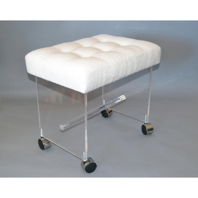 Mid-Century Modern Lucite Stool, Vanity Stool Tufted Boucle Fabric Seat Casters For Sale - Image 11 of 12