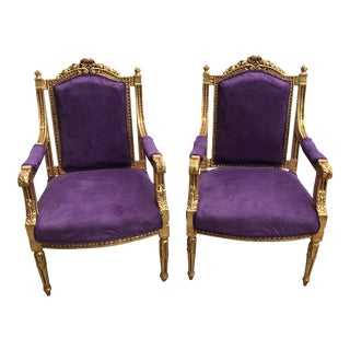 1980s Hollywood Regency Gilded Purple Chairs - a Pair For Sale