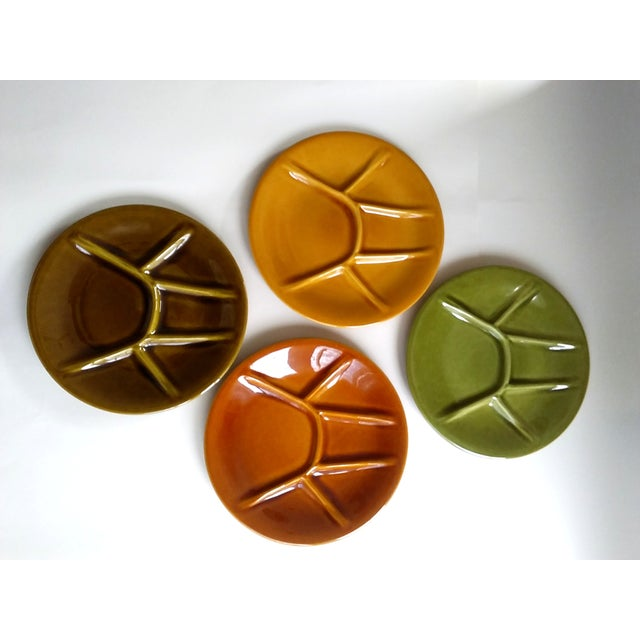 Mid Century - Four (4) fondue or sushi plates. Made by Kerealux Boch Frères - Belgium Bistro euro look for a casual...