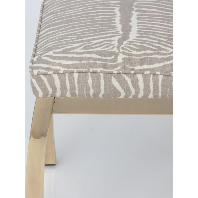 Pair of Le Zebre Upholstered Brass Benches For Sale In New York - Image 6 of 8