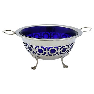Vintage English Silver-Plate W/ Cobalt Bowl For Sale