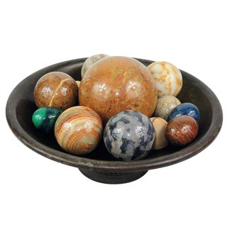 Vintage Polished Stone Decorative Eggs & Orbs With Footed Metal Bowl For Sale