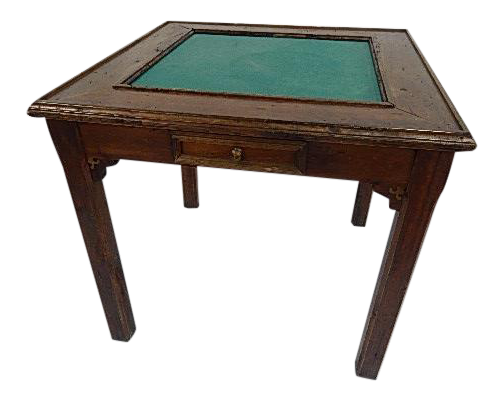 Country Style Game Table, Worm Hole Wood With Green Felt Top