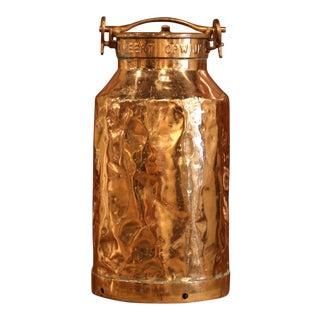 19th Century Belgium Patinated Copper Milk Container or Umbrella Stand For Sale