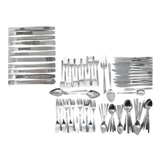 Vintage Floral MIX Match Stainless Steel Silverware Flatware Set B – 12 Place Settings Plus For Sale