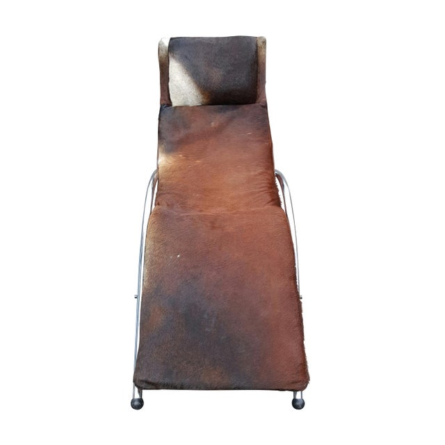 Modernist Cowhide Chaise Lounge - Image 4 of 7